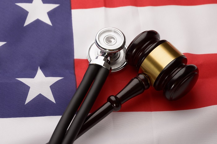 Gavel, Stethoscope and Flag